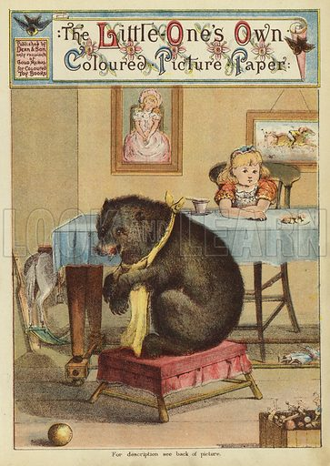 Girl at the table with a bear. Illustration from The Little One's Own Coloured Picture Paper (Dean and Son, c1890).