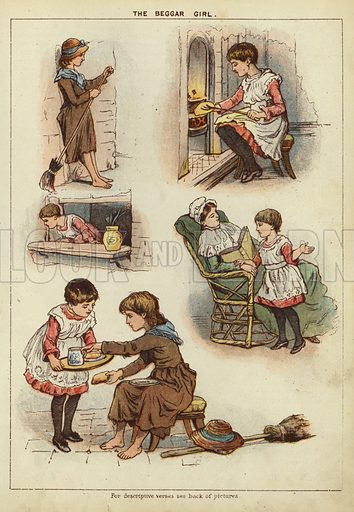 The Beggar Girl. Illustration from The Little One's Own Coloured Picture Paper (Dean and Son, c1890).