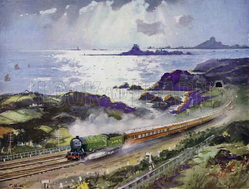 London and North Eastern Railway (LNER) train travelling north on the East Coast Line, passing Holy Island, Bamburgh Castle and the Farne Islands, Northumberland. Illustration for Our Trains with pictures by Frank H Mason (Raphael Tuck, 1946).