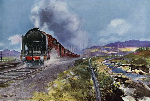 London, Midland and Scottish Railway (LMS) Scottish express train hauled by a Royal Scot class locomotive at the summit of Shap Fell, Westmorland. Illustration for Our Trains with pictures by Frank H Mason (Raphael Tuck, 1946).