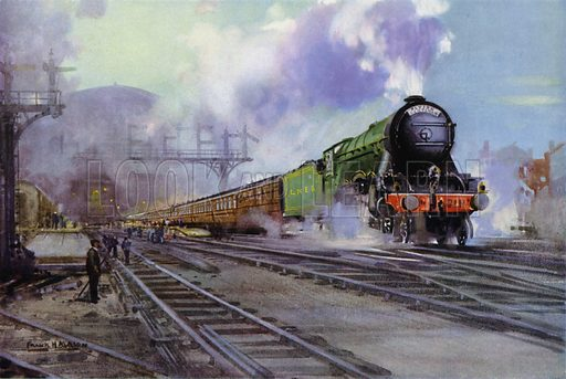 London and North Eastern Railway (LNER) Flying Scotsman express train hauled by a Class A1 Pacific locomotive leaving King's Cross Station, London. Illustration for Our Trains with pictures by Frank H Mason (Raphael Tuck, 1946).