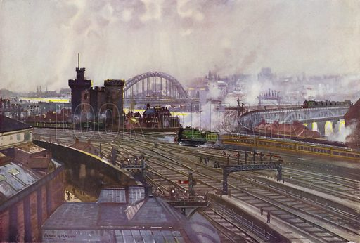 London and North Eastern Railway (LNER) train travelling through Newcastle-upon-Tyne, Northumberland, on the East Coast Line. Illustration for Our Trains with pictures by Frank H Mason (Raphael Tuck, 1946).