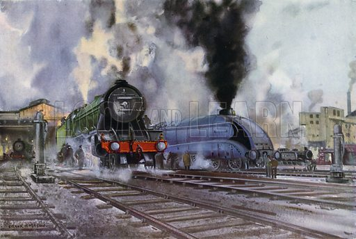 Class A1 Pacific and Class A4 Streamlined Pacific locomotives being prepared for their journeys at a London and North Eastern Railway (LNER) depot. Illustration for Our Trains with pictures by Frank H Mason (Raphael Tuck, 1946).