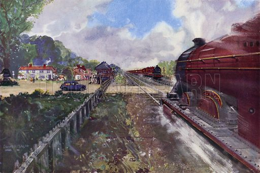 Two London, Midland and Scottish Railway (LMS) express trains passing each other at speed at a level crossing on the route to Scotland. Illustration for Our Trains with pictures by Frank H Mason (Raphael Tuck, 1946).