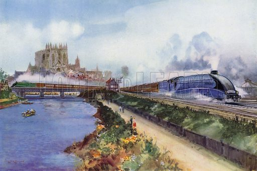 The Flying Scotsman, hauled by a London and North Eastern Railway (LNER) Class A4 Streamlined Pacific locomotive, heading north past York Minster and the River Ouse, Yorkshire. Illustration for Our Trains with pictures by Frank H Mason (Raphael Tuck, 1946).