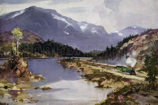 London and North Eastern Railway (LNER) train passing through a glen on the West Highland Line from Glasgow to Mallaig, Scotland. Illustration for Our Trains with pictures by Frank H Mason (Raphael Tuck, 1946).