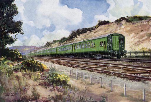 Southern Railway (SR) main line express train travelling on an electrified line using the third rail system. Illustration for Our Trains with pictures by Frank H Mason (Raphael Tuck, 1946).