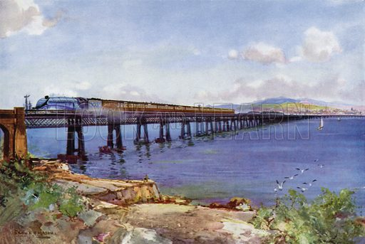 London and North Eastern Railway (LNER) train hauled by a Class A4 Streamlined Pacific locomotive crossing the Tay Bridge, Scotland. Illustration for Our Trains with pictures by Frank H Mason (Raphael Tuck, 1946).