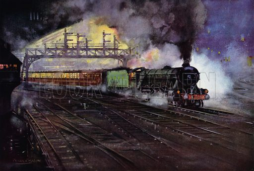 London and North Eastern Railway (LNER) night express train hauled by a Class A1 Pacific locomotive. Illustration for Our Trains with pictures by Frank H Mason (Raphael Tuck, 1946).