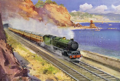 Great Western Railway (GWR) Castle class locomotive hauling the Cornish Riviera express along the coast between Dawlish and Teignmouth, Devon. Illustration for Our Trains with pictures by Frank H Mason (Raphael Tuck, 1946).