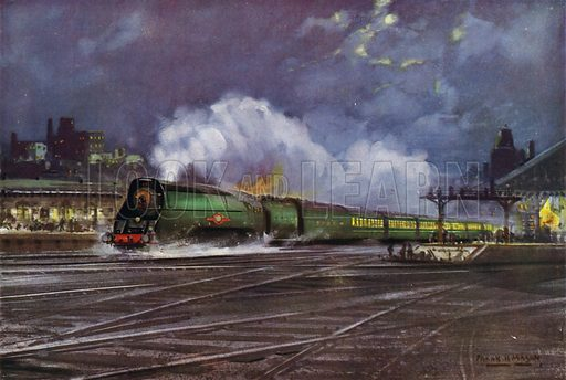 Air-smoothed Merchant Navy class Pacific locomotive hauling a Southern Railway (SR) night express train out of Waterloo Station, London. Illustration for Our Trains with pictures by Frank H Mason (Raphael Tuck, 1946).