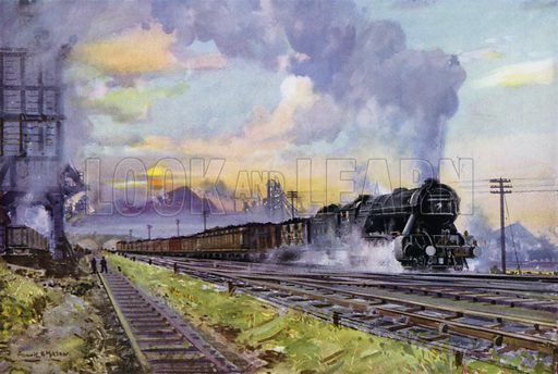 London and North Eastern Railway (LNER) 2-8-2 locomotive hauling a coal train. Illustration for Our Trains with pictures by Frank H Mason (Raphael Tuck, 1946).