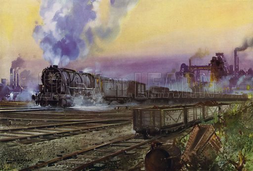 American-built 2-8-0 locomotive supplied under the Lend-Lease Agreement hauling a British goods train during World War II. Illustration for Our Trains with pictures by Frank H Mason (Raphael Tuck, 1946).
