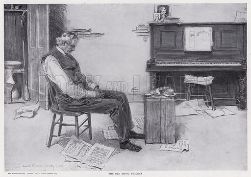The Old Music Teacher. Illustration from The Christy Album, by Howard Chandler Christy (Dean & Son, Ltd, London, c1906).