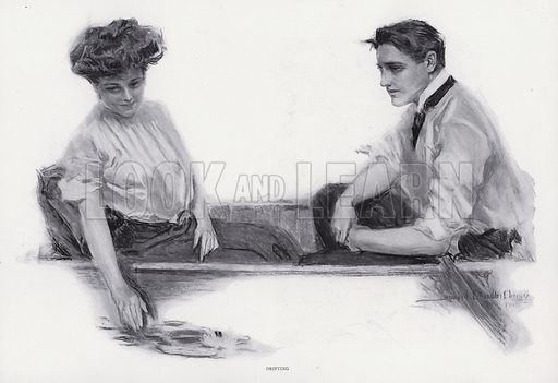 Drifting. Illustration from The Christy Album, by Howard Chandler Christy (Dean & Son, Ltd, London, c1906).