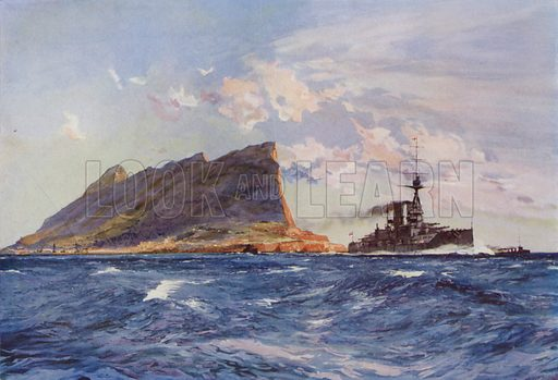 British battleship off Gibraltar. Illustration from The Wonder Book of the Navy, edited by Harry Golding (Ward Lock & Co, Ltd, London and Melbourne, c1929).