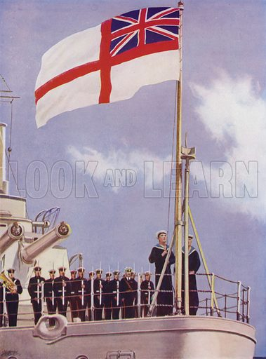 Hoisting the White Ensign on board a British warship. Illustration from The Wonder Book of the Navy, edited by Harry Golding (Ward Lock & Co, Ltd, London and Melbourne, c1929).
