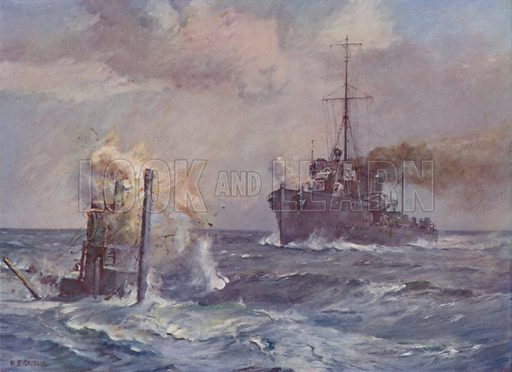 At war: British destroyer ramming an enemy submarine. Illustration from The Wonder Book of the Navy, edited by Harry Golding (Ward Lock & Co, Ltd, London and Melbourne, c1929).