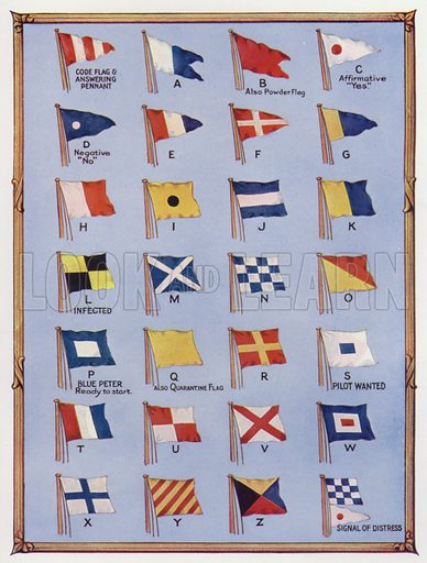 International code maritime signalling flags and pennants. Illustration from The Wonder Book of the Navy, edited by Harry Golding (Ward Lock & Co, Ltd, London and Melbourne, c1929).