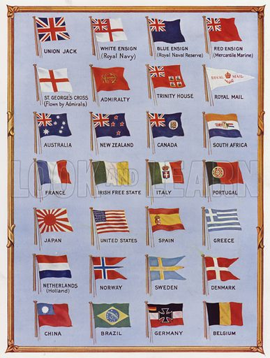 National naval flags. Illustration from The Wonder Book of the Navy, edited by Harry Golding (Ward Lock & Co, Ltd, London and Melbourne, c1929).