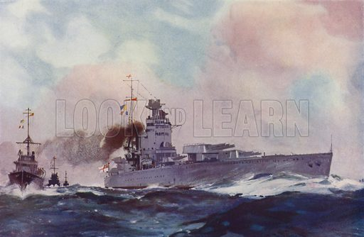 British Nelson class battleship. Illustration from The Wonder Book of the Navy, edited by Harry Golding (Ward Lock & Co, Ltd, London and Melbourne, c1929).