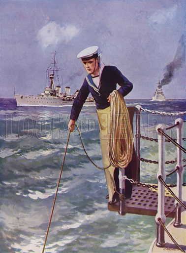 British sailor swinging the lead to check water depth. Illustration from The Wonder Book of the Navy, edited by Harry Golding (Ward Lock & Co, Ltd, London and Melbourne, c1929).