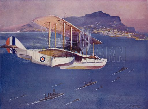 British naval flying boat. Illustration from The Wonder Book of the Navy, edited by Harry Golding (Ward Lock & Co, Ltd, London and Melbourne, c1929).