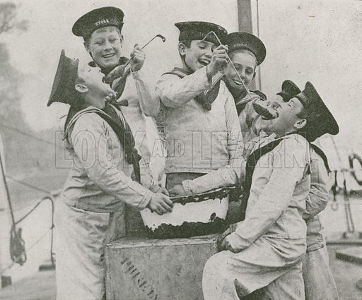 Boys on board the Royal Navy training ship HMS Stork trying their Christmas pudding mixture. Illustration from The Wonder Book of the Navy, edited by Harry Golding (Ward Lock & Co, Ltd, London and Melbourne, c1929).