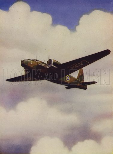 British Vickers Wellington medium bomber in flight. Illustration from The Wonder Book of the RAF, edited by Harry Golding (Ward, Lock & Co, Ltd, London and Melbourne, c1945).