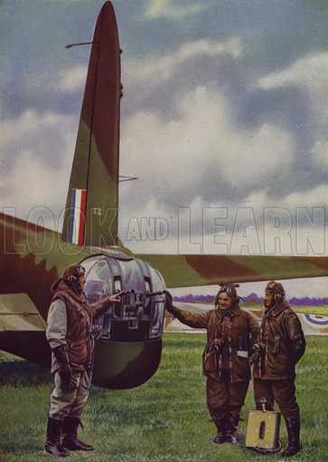 Tail gun turret of a British Vickers Wellington medium bomber. Illustration from The Wonder Book of the RAF, edited by Harry Golding (Ward, Lock & Co, Ltd, London and Melbourne, c1945).