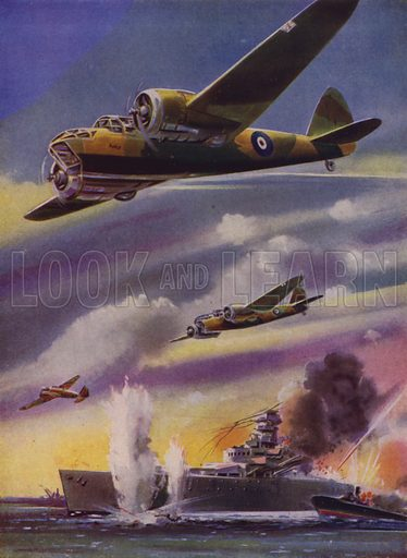 British Bristol Blenheim light bombers attacking a German warship, World War II. Illustration from The Wonder Book of the RAF, edited by Harry Golding (Ward, Lock & Co, Ltd, London and Melbourne, c1945).