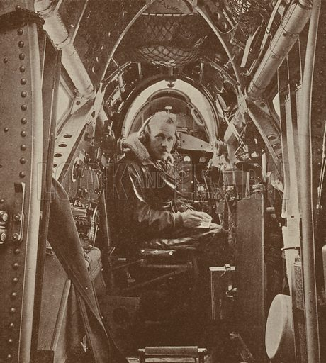 Wireless operator of a British Vickers Wellesley long-range bomber. Illustration from The Wonder Book of the RAF, edited by Harry Golding (Ward, Lock & Co, Ltd, London and Melbourne, c1945).