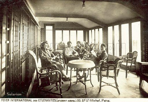 Solarium, Foyer International des Etudiantes student hostel, Boulevard St Michel, Paris, France. Postcard, early 20th century.