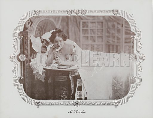 Woman relaxing in bed. Illustration from an unidentified album, c 1900.