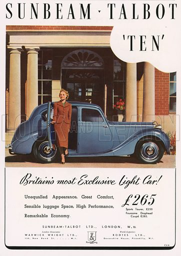 Advertisement for the Sunbeam Talbot Ten car. Illustration for Holly Leaves, the Christmas Number of the Illustrated Sporting and Dramatic News, 1938.