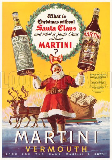 Christmas advertisement for Martini vermouth. Illustration for Holly Leaves, the Christmas Number of the Illustrated Sporting and Dramatic News, 1938.