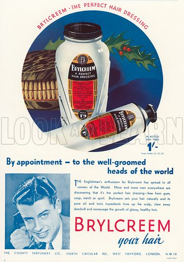 Christmas advertisement for Brylcreem hair dressing. Illustration for Holly Leaves, the Christmas Number of the Illustrated Sporting and Dramatic News, 1938.