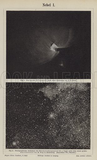 Views of the Orion Nebula and the Milky Way in the area of Deneb. Illustration from Meyer's Konversations-Lexicon, c1895.