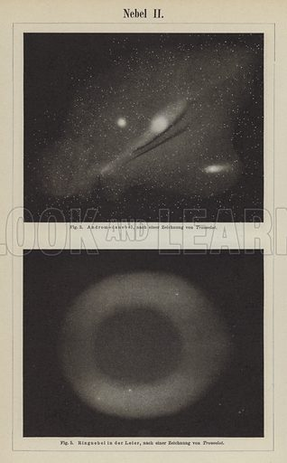 Views of the Andromeda Nebula and the Ring Nebula in the constellation Lyra. Illustration from Meyer's Konversations-Lexicon, c1895.