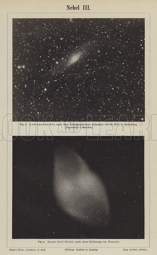 Views of the Andromeda Nebula and the Dumbbell Nebula. Illustration from Meyer's Konversations-Lexicon, c1895.
