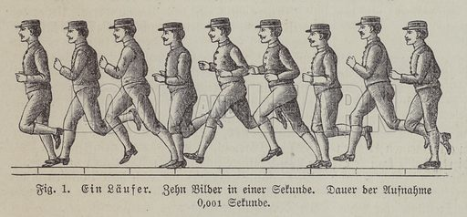 Ten pictures of a running man taken in one second. Illustration from Meyer's Konversations-Lexicon, c1895.
