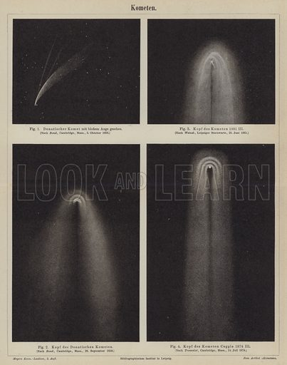 Comets. Illustration from Meyer's Konversations-Lexicon, c1895.