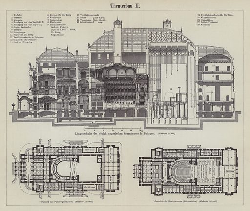 Plan of the Hungarian Royal Opera House, Budapest. Illustration from Meyer's Konversations-Lexicon, c1895.