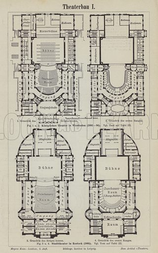 Plans of the Royal Theatre, Wiesbaden and the Municipal Theatre, Rostock, Germany. Illustration from Meyer's Konversations-Lexicon, c1895.