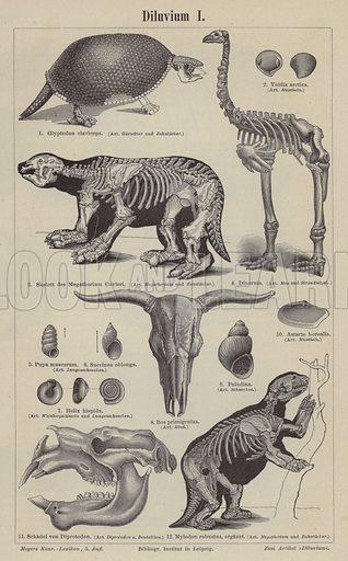 Prehistoric animals. Illustration from Meyer's Konversations-Lexicon, c1895.