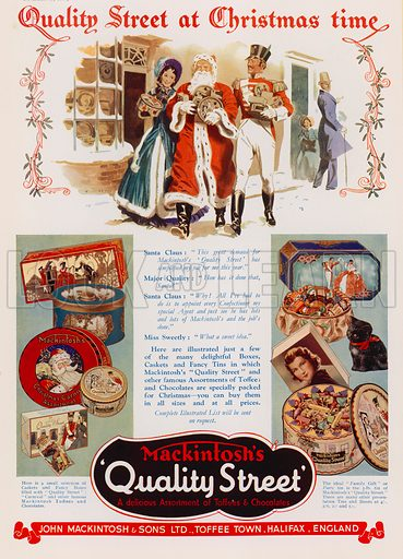 Christmas advertisement for Mackintosh's Quality Street chocolate and toffee assortments. Advertisement published in the Christmas 1937 edition of The Sphere magazine.