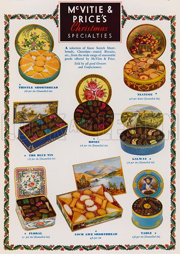Advertisement for McVitie & Price's Christmas speciality biscuit and shortbread selections. Advertisement published in the Christmas 1937 edition of The Sphere magazine.