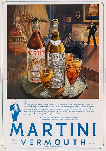 Christmas advertisement for Martini vermouth. Advertisement published in the Christmas 1937 edition of The Sphere magazine.