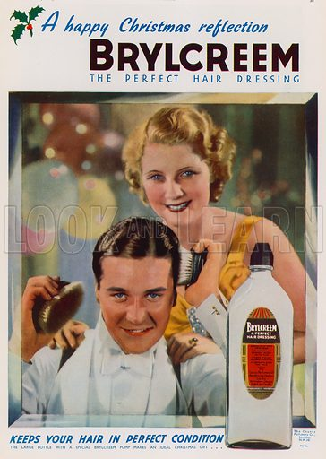 Christmas advertisement for Brylcreem hair dressing. Advertisement published in the Christmas 1937 edition of The Sphere magazine.