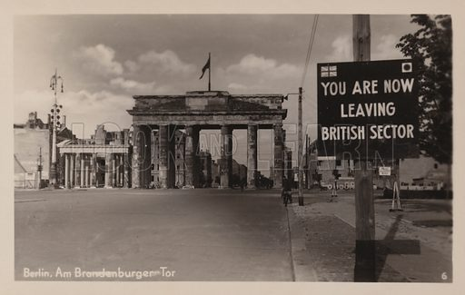 Brandenburg Gate, Berlin, Germany, during the Allied occupation of the city after World War II. Postcard, early 20th century.